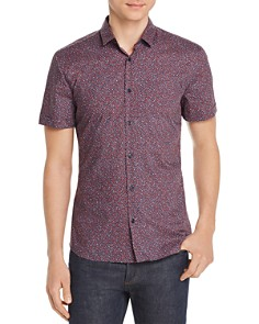HUGO - Empson Short-Sleeve Geometric-Print Slim Fit Shirt