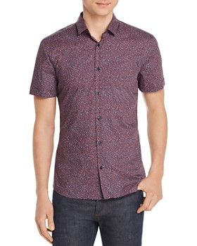 HUGO - Empson Short-Sleeve Geometric-Print Slim Fit Shirt