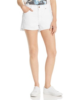 Pistola - Kylee High-Rise Cuffed Denim Shorts in Open White