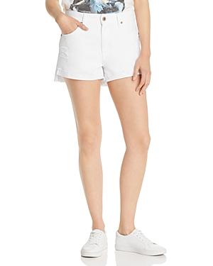 Pistola Kylee High-Rise Cuffed Denim Shorts in Open White