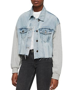 ALLSAINTS - Anders Mixed Media Cropped Jacket