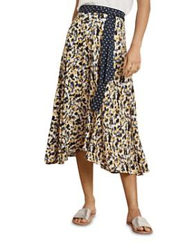 Velvet by Graham & Spencer - Tie-Waist Printed Midi Skirt