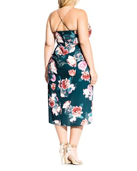 City Chic Plus - Sleeveless Floral Draped Dress