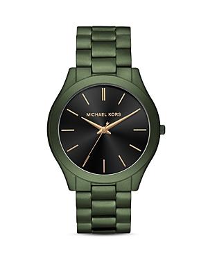 Michael Kors Slim Runway Green Link Bracelet Watch, 45mm