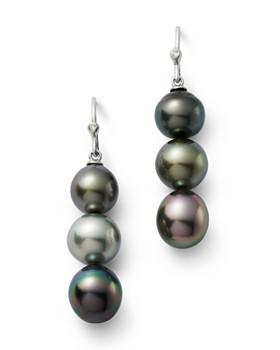 Bloomingdale's - Cultured Tahitian Pearl & Diamond Drop Earrings in 14K White Gold - 100% Exclusive