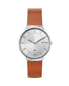 Skagen - Grenen Brown Leather Strap Watch, 38mm