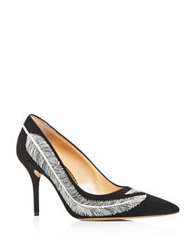 Charlotte Olympia - Women's Emilia Feather-Embroidered High-Heel Pumps