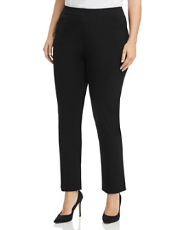 Misook Plus - High-Rise Slim-Leg Pants