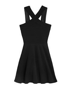 AQUA - Girls' Cross Front Textured Dress, Big Kid - 100% Exclusive