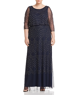 Vintage 1920s Dresses – Where to Buy Adrianna Papell Plus Beaded Mesh-Detail Maxi Dress AUD 178.60 AT vintagedancer.com