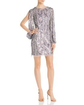 Aidan Mattox - Slit-Sleeve Embellished Dress