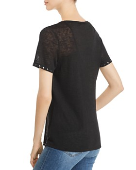 Sioni - Studded-Trim V-Neck Tee