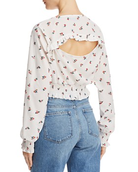 Fashion Union - Viviene Cutout Floral Cropped Top
