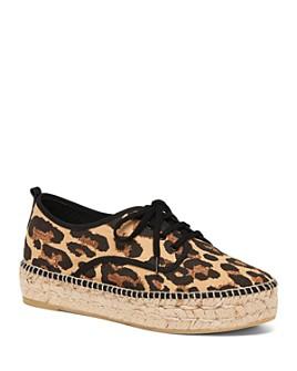 Loeffler Randall - Women's Alfie Leopard-Print Espadrille Flatform Lace-Up Sneakers