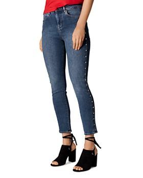 KAREN MILLEN - Studded Cropped Skinny Jeans in Denim