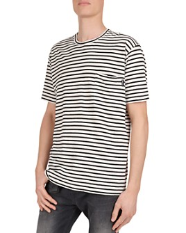 The Kooples - Striped Cotton & Linen Crewneck Tee