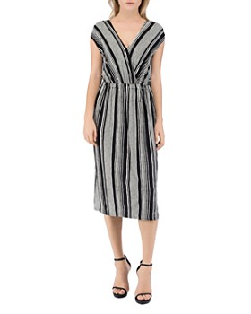 B Collection by Bobeau - Danielle Striped V-Neck Dress