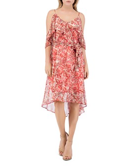 B Collection by Bobeau - Stello Floral Cold-Shoulder Dress