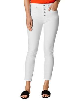 KAREN MILLEN - Button Fly Ankle Skinny Jeans in White
