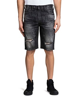 PRPS - Jaffna Double Rip Light Bleach Regular Fit Denim Shorts in Black