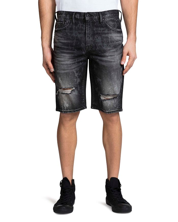 PRPS - Jaffna Double Rip Light Bleach Regular Fit Denim Shorts in Black