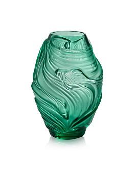 Lalique - Poissons Combattants Mint Green Medium Vase