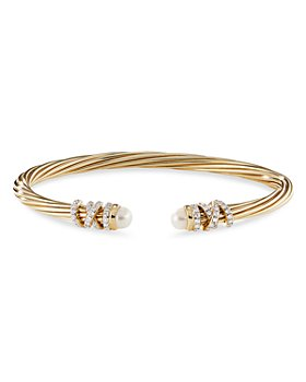David Yurman - 18K Yellow Gold Helena End Station Bracelet with Cultured Freshwater Pearls & Diamonds