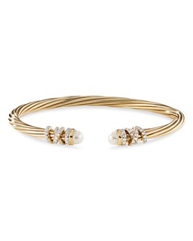 David Yurman - 18K Yellow Gold Helena End Station Bracelet with Cultured Freshwater Pearls & Diamonds