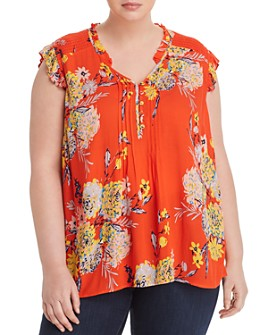 Daniel Rainn Plus - Floral-Print Cap-Sleeve Blouse