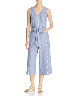 BeachLunchLounge - Striped V-Neck Jumpsuit