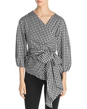 Single Thread - Gingham Wrap Top