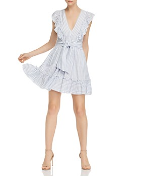 Saylor - Striped Ruffle Tie-Front Dress