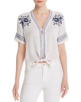 Rails - Thea Embroidered Tie-Front Top
