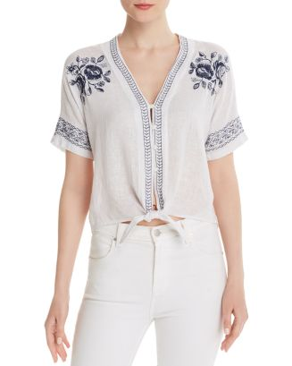 Thea Embroidered Tie Front Top by Rails