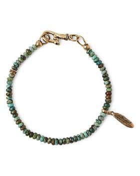 John Varvatos Collection - Brass Mercer Turquoise Beaded Feather Charm Bracelet