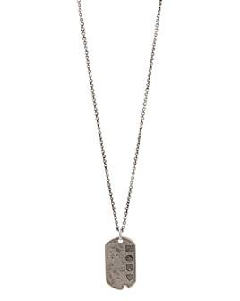 "John Varvatos Collection - Sterling Silver Artisan Metals Logo Dog Tag Necklace, 24"""