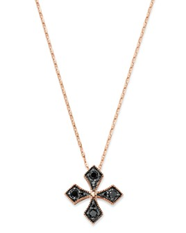 Bloomingdale's - Black Diamond Milgrain Cross Pendant Necklace in 14K Rose Gold, 0.25 ct. t.w. - 100% Exclusive