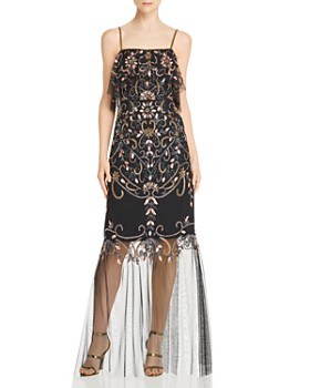 Aidan Mattox - Embellished Illusion-Hem Gown