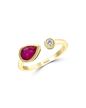Bloomingdale's Pear-Shaped Ruby & Diamond Band in 14K Yellow Gold - 100% Exclusive
