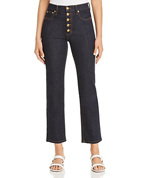 Tory Burch - Button-Fly Straight-Leg Jeans in Resin Rinse