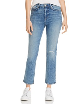 rag & bone - Nina High-Rise Ankle Cigarette Jeans in Cleo With Holes