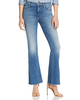 MOTHER - The Weekender High-Rise Frayed Flared Jeans in Hop On Hop Off