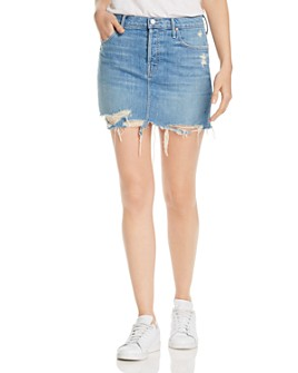 MOTHER - The Vagabond Distressed Denim Mini Skirt