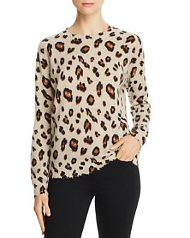 Minnie Rose - Distressed-Trim Leopard Print Cashmere Sweater