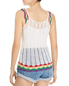 AQUA - Rainbow-Trim Crochet Tank - 100% Exclusive