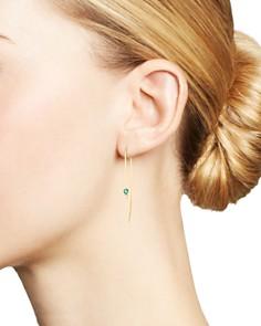 Zoë Chicco - 14K Yellow Gold Diamond & Emerald Wire Threader Earrings