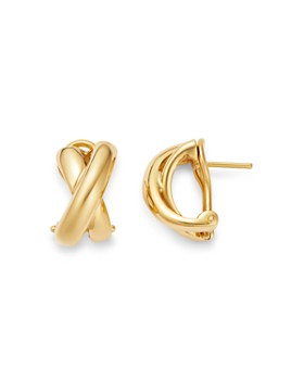 Roberto Coin - 18K Yellow Gold Crossover Hoop Earrings