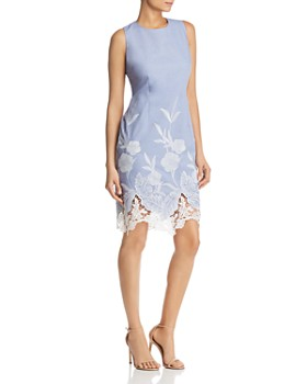 2ea98788598f T Tahari - Embroidered Lace-Hem Dress ...