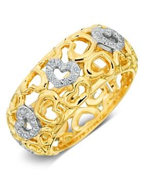 Gumuchian - 18K Yellow Gold Tiny Hearts Diamond Band