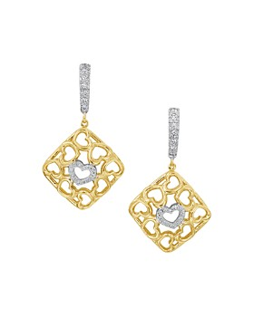 Gumuchian - 18K Yellow Gold Tiny Hearts Diamond Drop Earrings